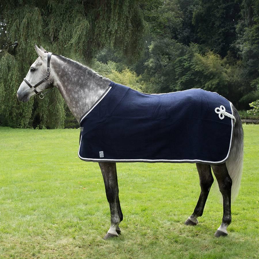 Greenfield Selection Couverture laine - bleu marine/gris-blanc/blanc