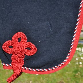 Woolen rug - navy/red-mix