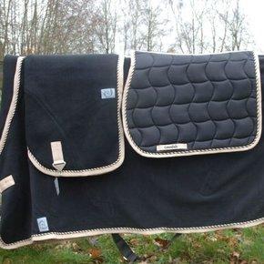 Couverture laine - noir/beige-mix
