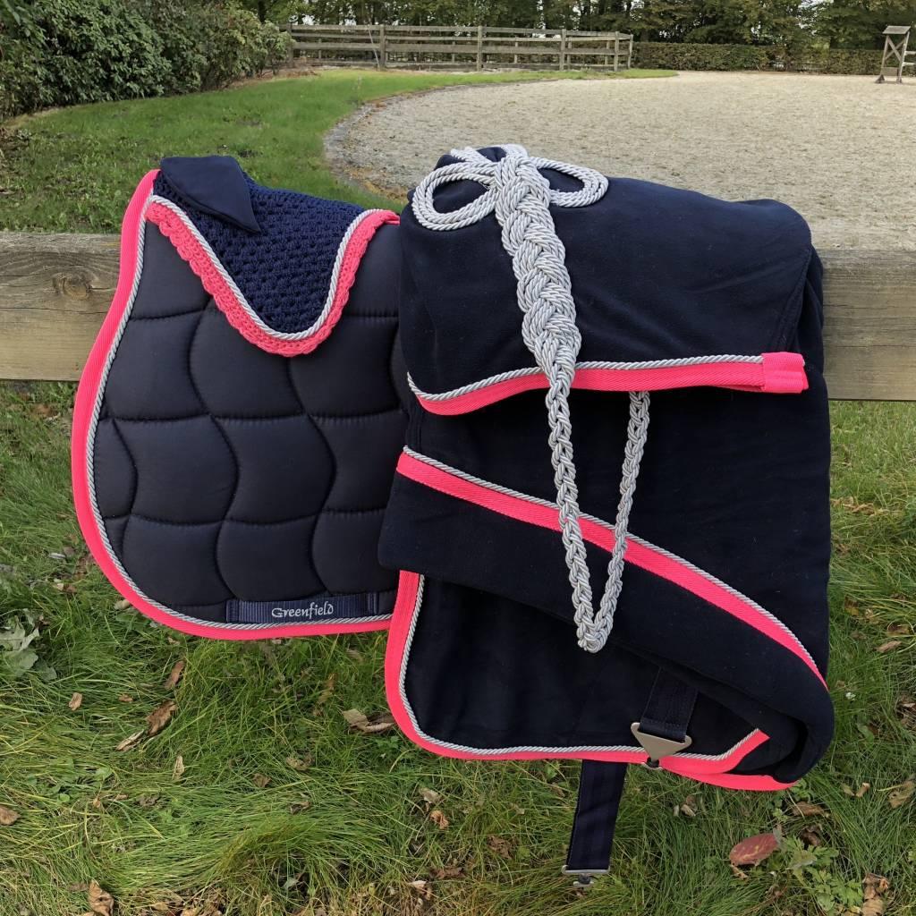 Greenfield Selection P/M Bonnet poney - bleu marine/fushia-gris argent