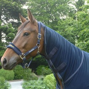 Fleece rug with neckcover - navy/navy-mix