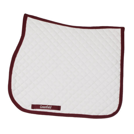 Greenfield Selection Saddle pad piping - white/burgundy-burgundy