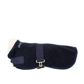 Dog rug fleece teddy collar - navy