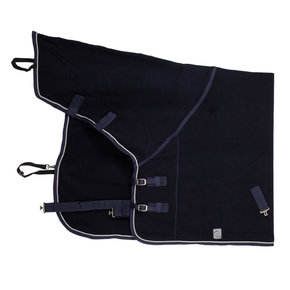 Fleece rug with neckcover - navy/navy-silvergrey