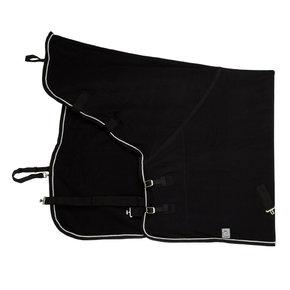 Fleece deken met nek - zwart/zwart-zilvergrijs