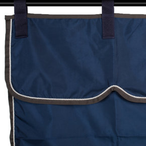 Stable curtain navy/grey - white