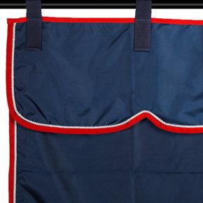 Stalgordijn blauw/rood - wit