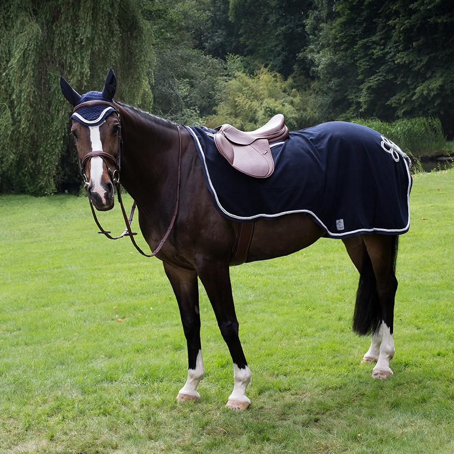 Greenfield Selection Riding sheet fleece - grey/grey-silvergrey/royalblue