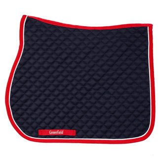 Greenfield Selection Saddle pad piping - navy/red - white