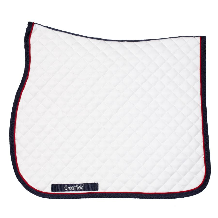 Greenfield Selection Tapis de selle piping - blanc/bleu marine - rouge