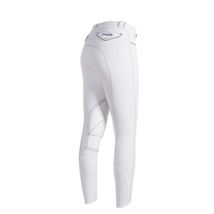 Greenfield Selection Pantalon d'équitation femme - blanc avec des couture foncé