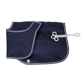 Couvre-reins en laine - bleu marine/bleu marine-gris d'argent