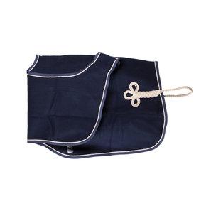 Couvre-reins en laine - bleu marine/bleu marine-beige