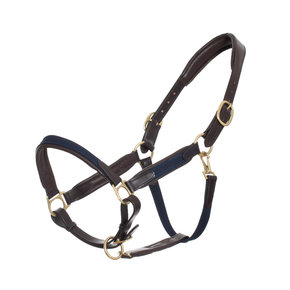 Leather headcollar with fabric - navy - pony