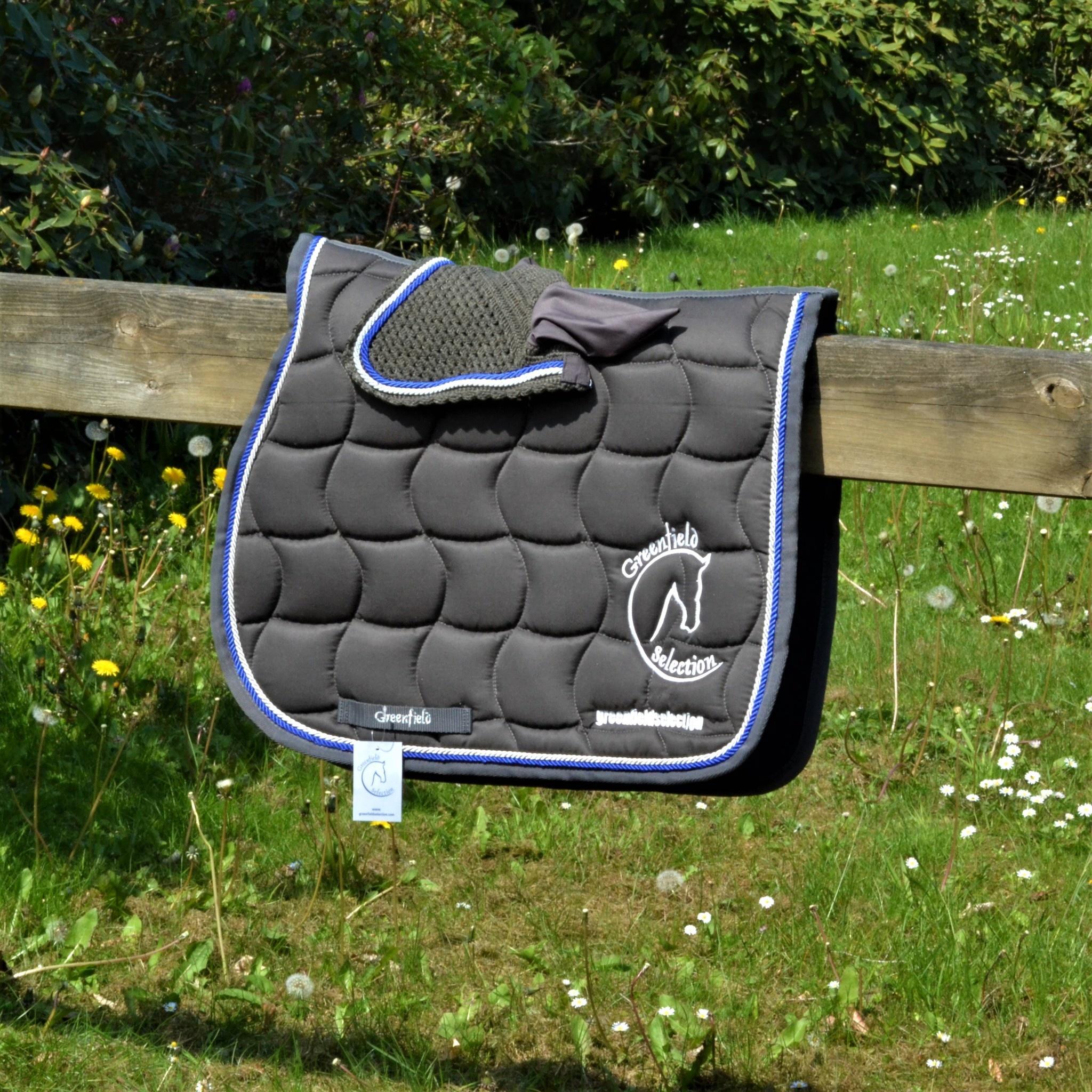 Greenfield Selection Tapis de selle - gris/gris-blanc/bleu royal