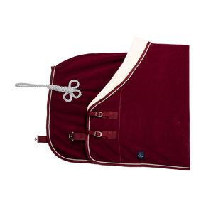 Fleece teddy collar & silver cord - burgundy