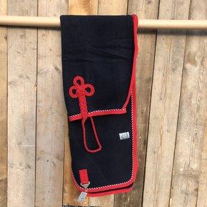 SOLDEN !! Wollen deken blauw/rood-mix 145cm