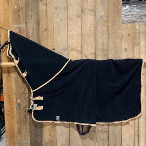 SALES !! Fleece rug with neckcover - navy/beige-mix 155cm