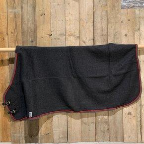 SOLDEN !! Wollen deken grijs/grijs-rood 165cm