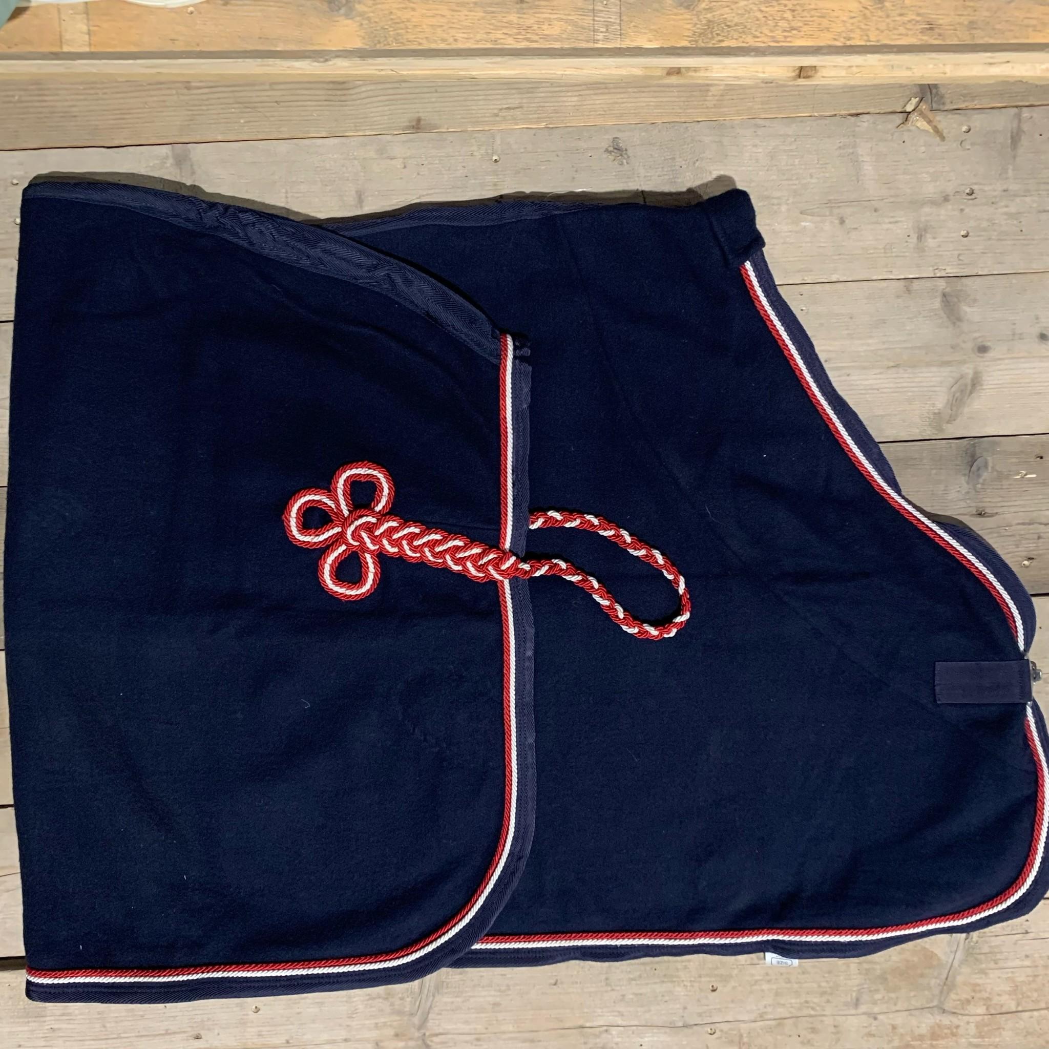 Greenfield Selection SOLDEN !! Wollen deken blauw/blauw-wit/rood 145cm