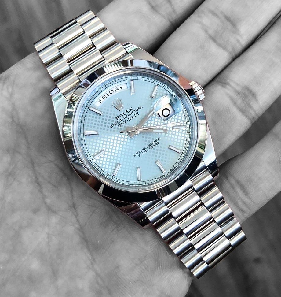 Platinum Rolex Day-Date 40mm Ice Blue