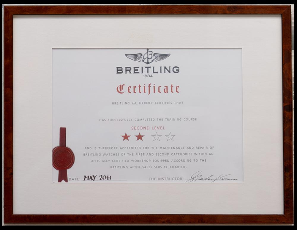 Certificaat Breitling Horlogemaker Paul van Zeeland