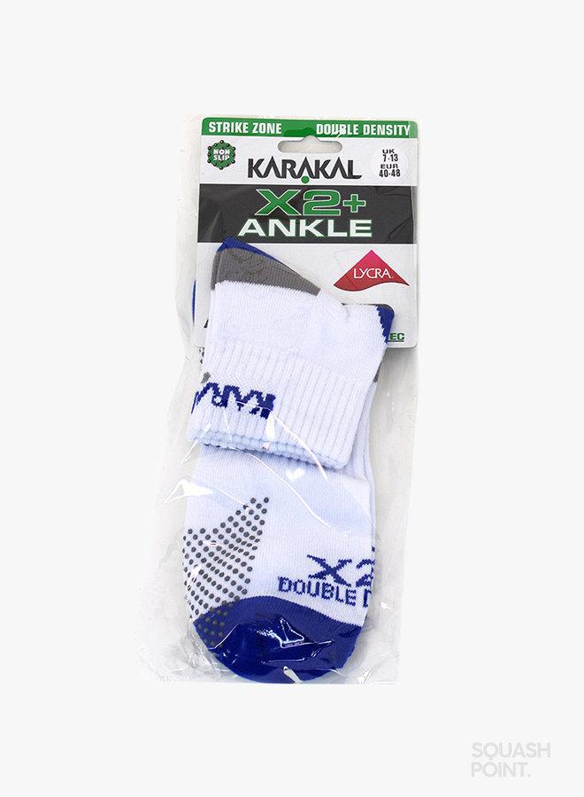 Karakal X2+ Mens Technical Ankle Socks - White / Blue
