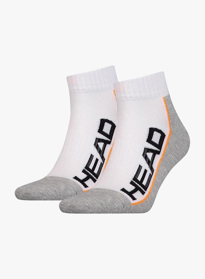 Head Performance Quarter Socks  - 2 Pack - White / Grey