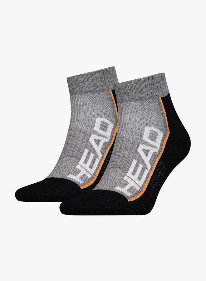Head Performance Quarter Socks - 2 Pack - Grey / Black