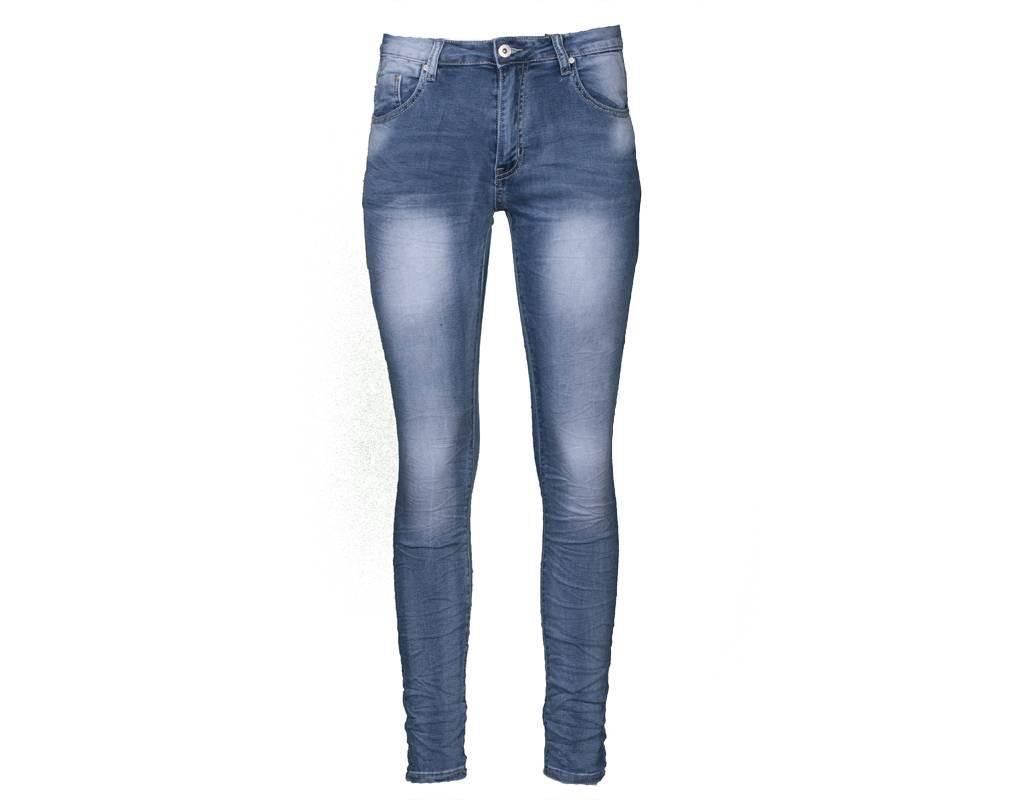 Place du Jour Jog jeans blue met lichte wassing van Place du Jour