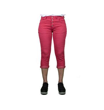 Place du Jour Rode capri jog jeans van Place du Jour