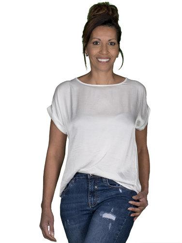 Gemma Ricceri Ecru shirt met glanzend voorpand van Gemma Ricceri
