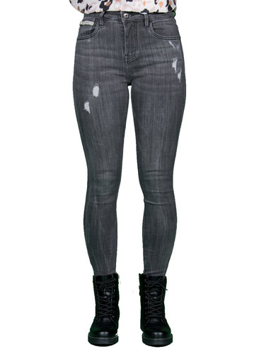 Queen Hearts Gray skinny  crop roll up jeans van Queen Hearts
