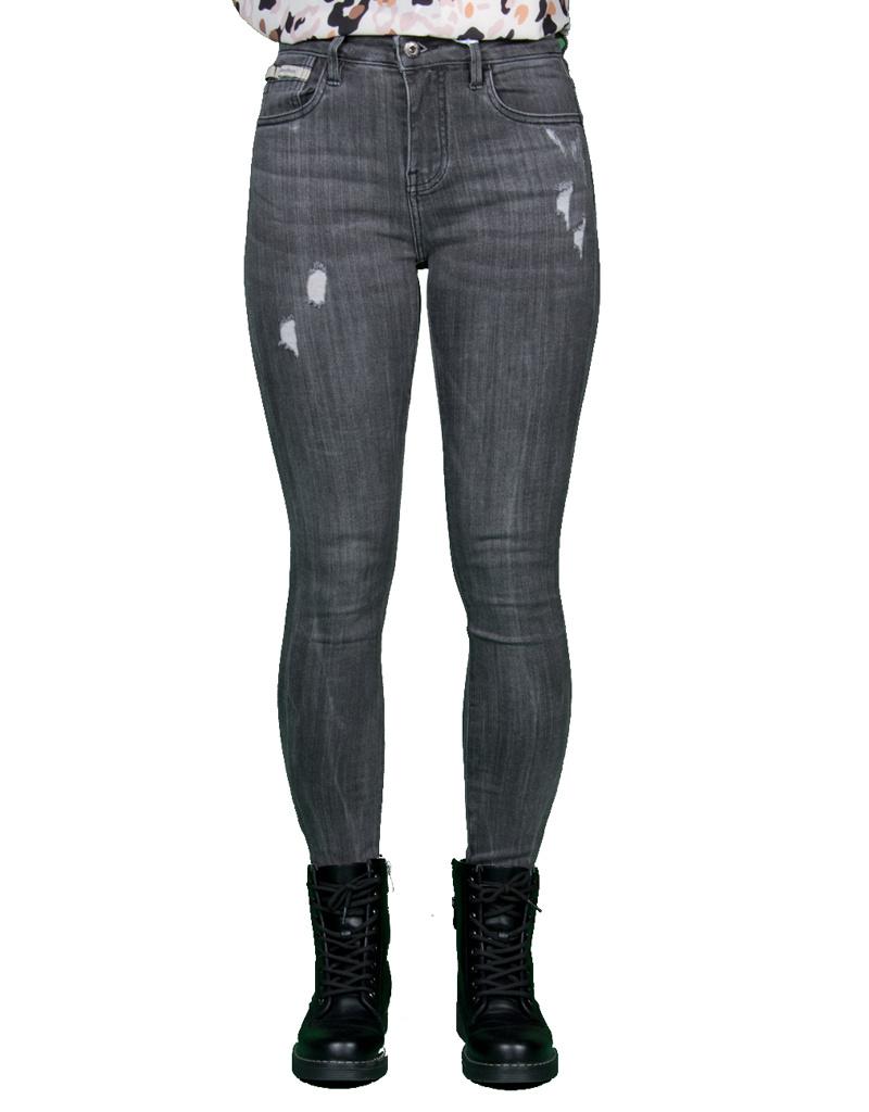 Queen Hearts Gray skinny  crop roll up jeans van Queen Hearts