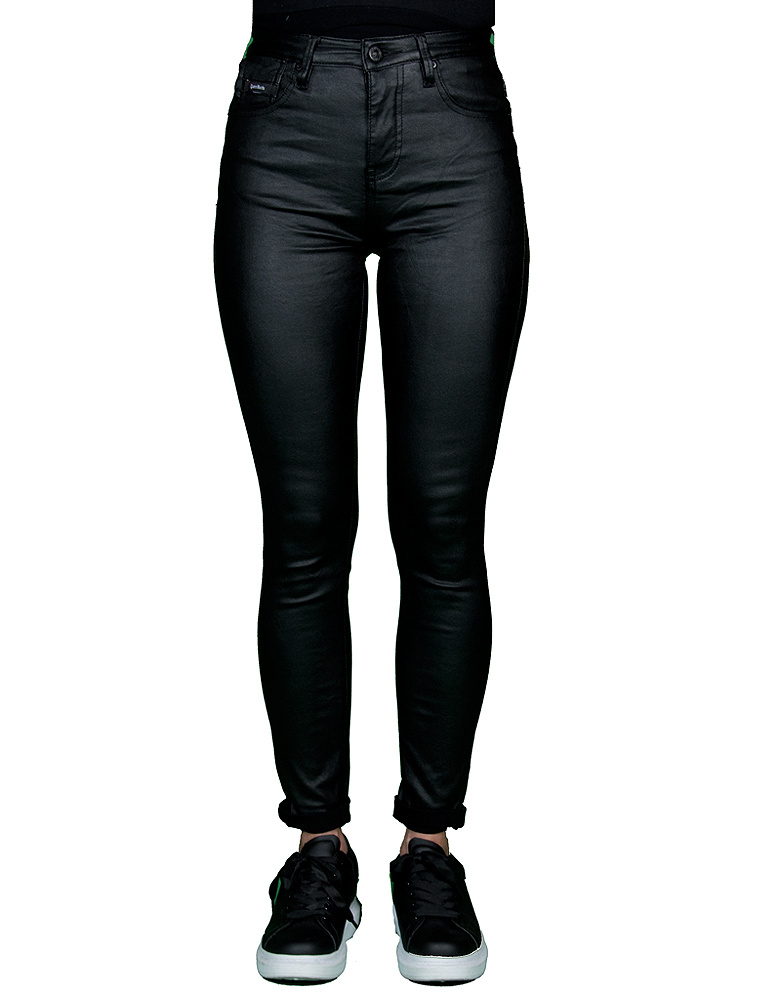 Queen Hearts Zwarte skinny wax roll up jeans van Queen Hearts