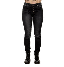 Place du Jour Zwarte baggy jog jeans met lichte wassing van Place du Jour