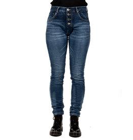 Place du Jour Donkerblauwe baggy jog jeans met lichte wassing van Place du Jour