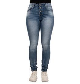 Place du Jour Blauwe baggy jog jeans met lichte wassing van Place du Jour