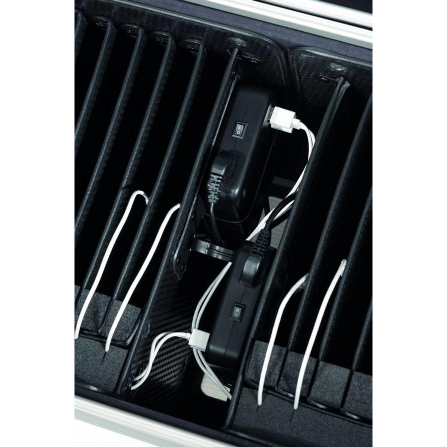 i20 nur charge Ladekoffer für 20 iPads  mit Fächereinteilung in  weiß-2