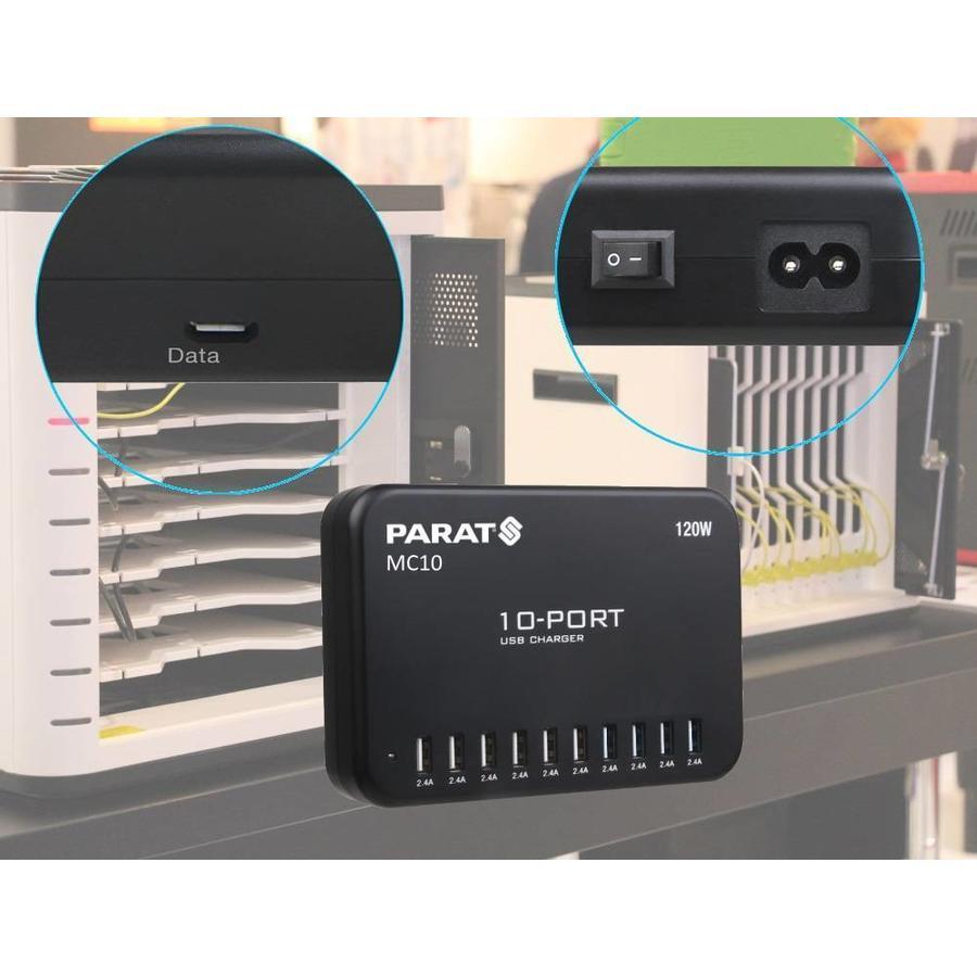 Ladestation mit 10 USB Anschlüssen auf einem Schuko/Netzkontakt-2