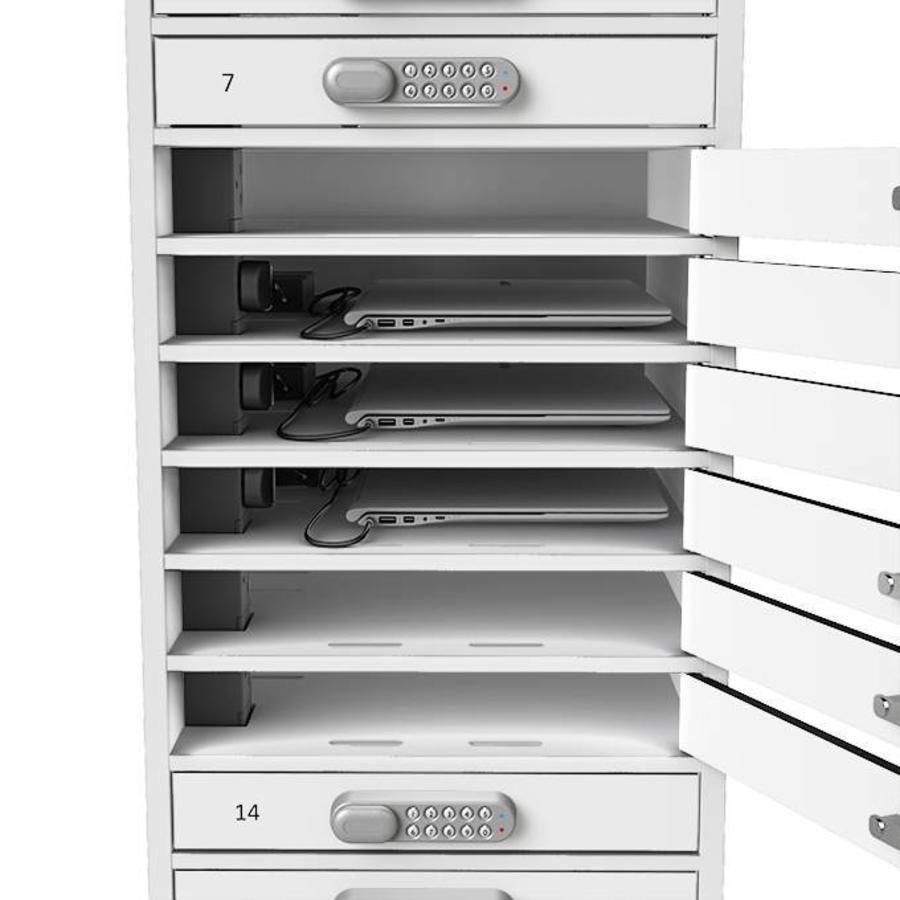 BYOD Ladespinde 1:1 Laptop / Tablets 16 separate Schließfächer mit Schuko Steckdosen-4