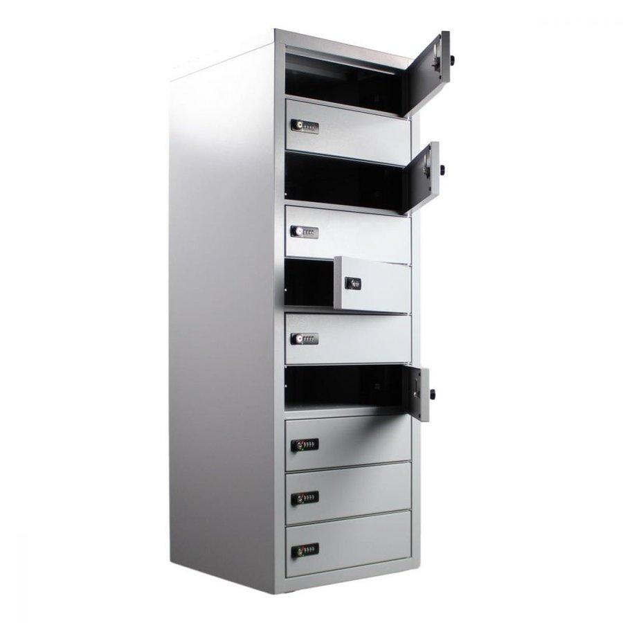 BR10 Freistehendes Spind, Staufacher vorgesehen von ein 220V und zwei USB-Anschlüssen. Jedes Ablagefach hat ein Codeschloss.-2