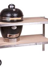 Monolith grills Verrijdbare RVS & Teakhouten tafel voor alle Monolith (L) varinaten
