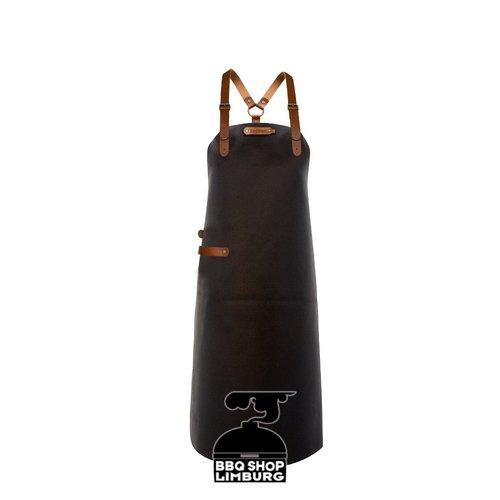 Xapron Xapron Lederen schort schouderband apron-82cm Kansas Black (L)