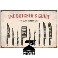 Metalen wandbordje - Butcher Guide Knives 20x30cm