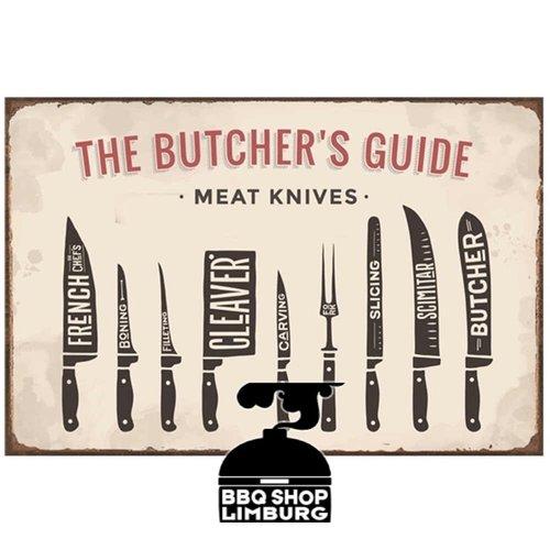 Metalen wandbordje - Butcher Guide Knives 20x30cm