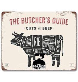 Metalen wandbordje - Butcher Guide Beef 20x30cm