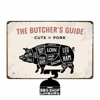 Metalen wandbordje - Butcher Guide Pork 20x30cm
