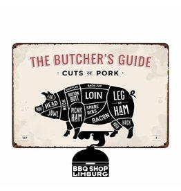 Metalen wandbordje - Butcher Guide Pork 20x30cm