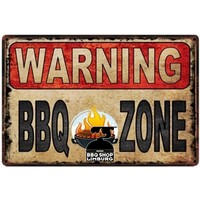 Metalen wandbordje - Warning BBQ Zone 20x30cm